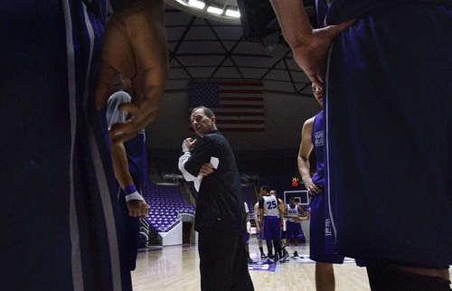 Leah Hogsten  |  The Salt Lake Tribune Weber State University basketball team head coach Randy Rahe, Tuesday, January 22, 2013. Weber State's basketball program continues to roll along and is once again a favorite to win the Big Sky Conference.