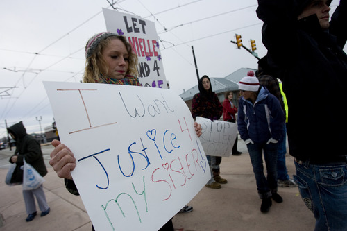 Kim Raff  |  The Salt Lake Tribune Kayleen Willard, sister of Danielle Willard, joins three dozen people Sunday who gathered outside the West Valley City Hall for a vigil for Danielle, who was shot by West Valley Police on Nov. 2 as she sat in her car unarmed.