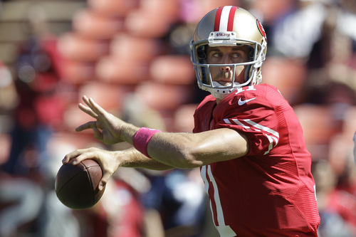 San Francisco 49ers quarterback Alex Smith (11) warms up before an NFL football game against the Buffalo Bills in San Francisco, Sunday, Oct. 7, 2012. (AP Photo/Tony Avelar)