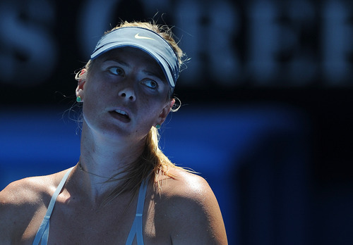 Russia's Maria Sharapova waits between points during her semifinal match against China's Li Na at the Australian Open tennis championship in Melbourne, Australia, Thursday, Jan. 24, 2013. (AP Photo/Andrew Brownbill)