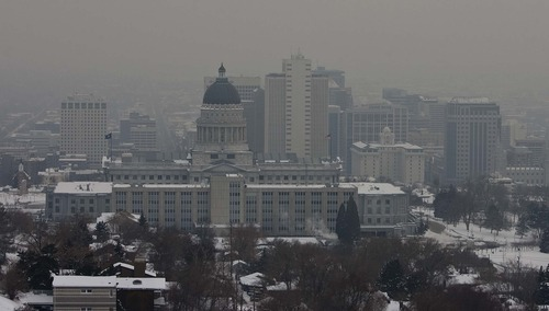Leah Hogsten  |  The Salt Lake Tribune The inversion blankets the Wasatch Valley Wednesday, January 23, 2013.