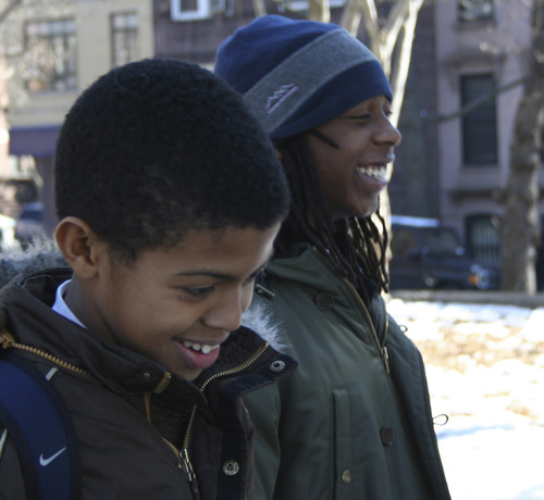 "Idris Brewster, left, and Seun Summers, two friends whose lives from kindergarten through 12th grade are chronicled in ""American Promise."" The film debuts in the U.S. Documentary competition of the 2013 Sundance Film Festival. Michele Stephenson  