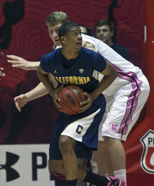 Chris Detrick  |  The Salt Lake Tribune Utah Utes center Dallin Bachynski (31) guards California Golden Bears guard Tyrone Wallace (3) during the first half of the game at the Huntsman Center Thursday January 24, 2013. Cal is winning the game 32-22.