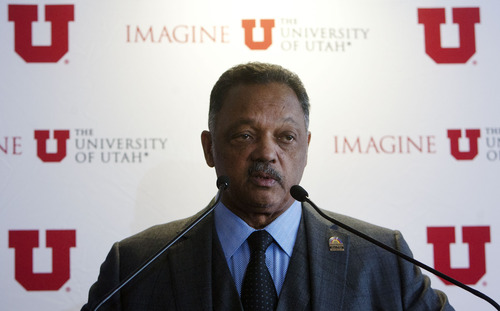 Steve Griffin  |  The Salt Lake Tribune Jesse Jackson talks to the media during a news conference prior to his keynote address for a Martin Luther King Jr. celebration at the University of Utah Thursday.