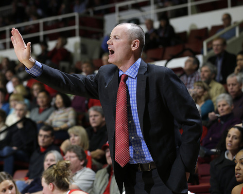 Utah head coach Anthony Levrets instructs his team against Stanford  during the first half of an NCAA college basketball game in Stanford, Calif., Friday, Jan. 25, 2013. (AP Photo/Marcio Jose Sanchez)