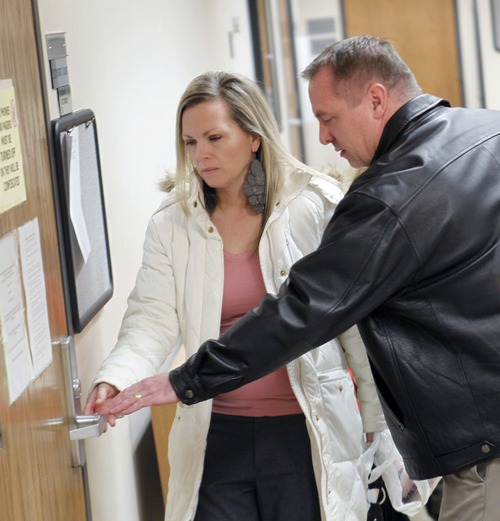 Al Hartmann  |  The Salt Lake Tribune Jared and Kristi Frei enter a 4th District courtroom in Provo Friday Jan. 25 for a custody transfer hearing for Teleah, whom they wanted to adopt. Custody of Teleah was granted to her biological father, Terry Achane.