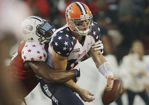 Senior Bowl North Squad quarterback Ryan Nassib of Syracuse (12) fumbles the ball as he is sacked by South Squad defensive lineman Ezekial Ansah of Brigham Young (47) in the second half of the Senior Bowl college football game at Ladd-Peebles Stadium in Mobile, Ala., Saturday, Jan. 26, 2013. (AP Photo/Dave Martin)