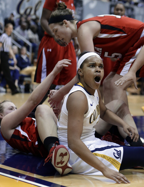 California's Brittany Boyd, right, reacts to a foul called against her in the second half of an NCAA college basketball game against Utah on Sunday, Jan. 27, 2013, in Berkeley, Calif. (AP Photo/Ben Margot)
