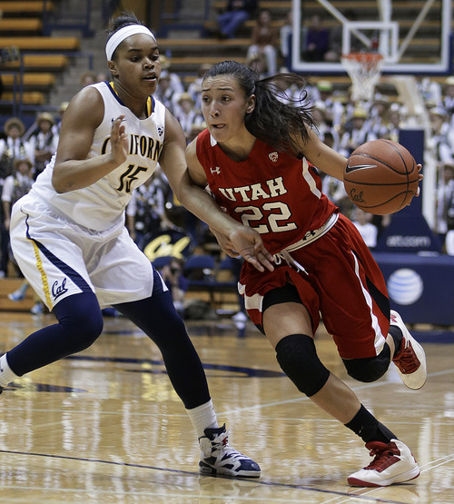 Utah's Danielle Rodriguez, right, drives the ball against California's Brittany Boyd in the first half of an NCAA college basketball game Sunday, Jan. 27, 2013, in Berkeley, Calif. (AP Photo/Ben Margot)