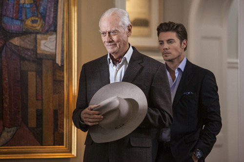 "Larry Hagman as J.R. Ewing and Josh Henderson as his son, John Ross, in TNT's ""Dallas."" Courtesy photo TNT"