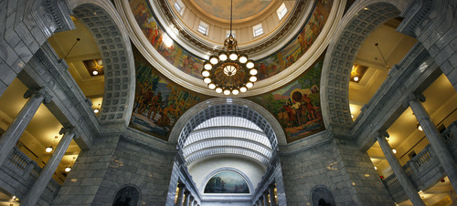 Scott Sommerdorf   |  The Salt Lake Tribune A composite of three images creates a view Inside the Utah State Capitol building, Wednesday, January 23, 2013.