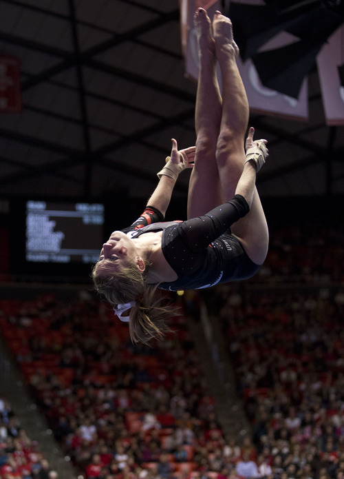 Lennie Mahler     The Salt Lake Tribune Mary Beth Lofgren performs on the floor earning a 9.800 in a meet against Oregon State, West Virginia, and SUU at the Huntsman Center, Saturday, Jan. 19, 2013. The Red Rocks edged the competition with a final score of 196.950, followed by Oregon State with a score of 195.950.