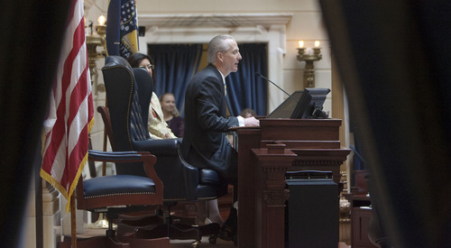 Steve Griffin | The Salt Lake Tribune  President of the Senate, Wayne Niederhauser, gives his opening remarks from the Senate chambers during the opening of the 2013 legislative season at the Utah State Capitol in Salt Lake City Monday January 28, 2013.