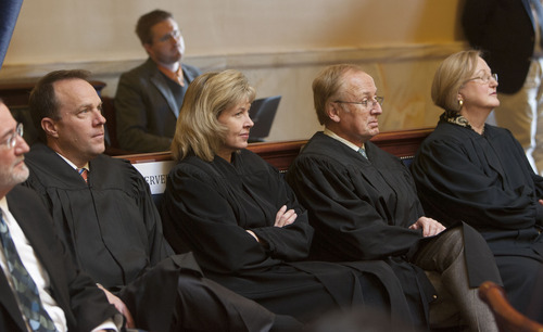 Steve Griffin | The Salt Lake Tribune  Utah Supreme Court Justices Thomas R. Lee, Jill N. Parrish, Ronald E. Nehring and Christine Durham listen to Chief Justice Matthew B. Durrant as he talks to senators about the state of the Utah judicial system during the opening of the 2013 legislative season at the Utah State Capitol in Salt Lake City Monday January 28, 2013.