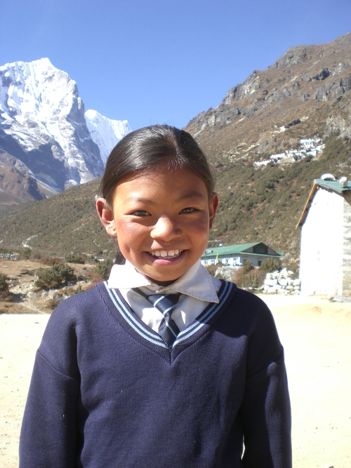 A student at the Thame school in Nepal. The school was built by Sir Edmund Hillary in 1963. Apa Sherpa attended the school and then went on to become the world record holder for summiting Mount Everest (21). He now lives in Utah and has started the Apa Sherpa Foundation and plans to renovate the school that now serves more than 70 village children. Courtesy Apa Sherpa Foundation