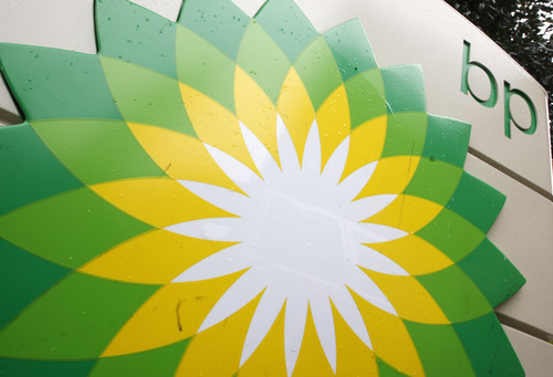 FILE - In this file photo made Oct. 25, 2007, the BP (British Petroleum) logo is seen at a gas station in Washington.   (AP Photo/Charles Dharapak, File)