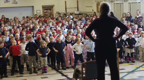 "Al Hartmann  |  The Salt Lake Tribune Actress Alyson Reed, the loveably, loopy drama teacher ""Ms. Darbus"" in Disney's High School Musical series, leads a learning assembly at Canyon Rim Elementary Monday January 28.  Reed partnered with the Salt Lake Acting Company for the  series of theatre activities, including active learning assemblies, family night, and an actor's workshop for local students."