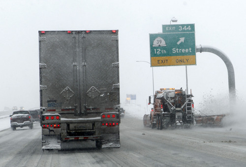 Al Hartmann  |  The Salt Lake Tribune It was slow going for commuters along I-15 in Ogden Tuesday January 29 during the second installment of a major winter snowstorm to hit northern Utah.