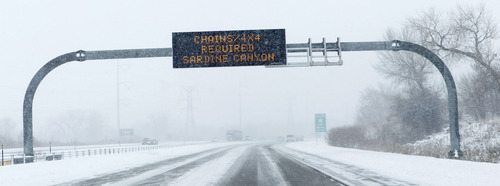 Al Hartmann  |  The Salt Lake Tribune A sign on I-15 before Brigham City warns drivers of restrictions in Sardine Canyon Tuesday January 29 during the second installment of a major winter snowstorm to hit northern Utah.