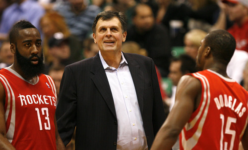Rick Egan  | The Salt Lake Tribune   Houston Rockets head coach Kevin McHale is all smiles as the Rockets lead the Jazz by 40 points in the fourth quarter,  in NBA action, Utah Jazz vs. the Houston Rockets, in Salt Lake City, Monday, January 28, 2013. Houston Rockets shooting guard James Harden (13) and Houston Rockets point guard Toney Douglas (15) go to the bench for a rest.
