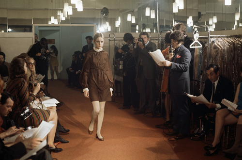 Twiggy models a dress at a fashion show in England in 1967.  (AP Photo)