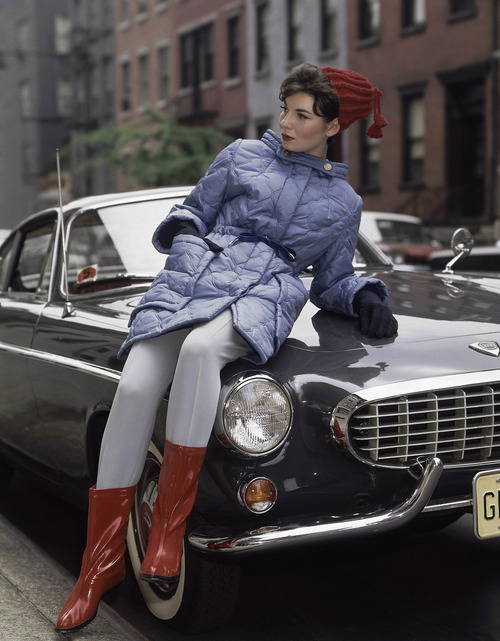 Blue with red hat and shoes fashion skiing coats in 1963. (AP Photo)