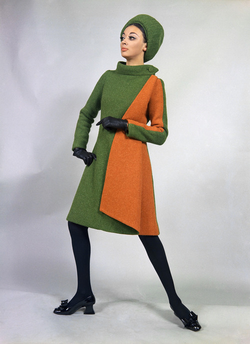 A mantle of green and orange-red wool, a creation by the Emilio Schuberth fashion house of Rome, to be presented at its show of fall and winter fashions, July 17, 1968. (AP Photo/Mario Torrisi)