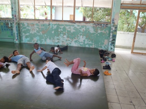Courtesy image University of Utah dance students work with younger dancers as part of the Panama movement exchange.