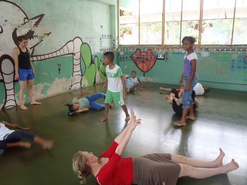 Courtesy image University of Utah dance students Camilla Gardner and Emily Jane Weaver teach creative movement to the children at Fundación Calicanto, as part of a 2012 dance exchange trip to Panama.