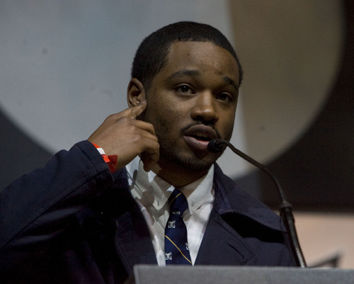 "Kim Raff  |  The Salt Lake Tribune Director and screenwriter of ""Fruitvale"", Ryan Coogler makes a speech on stage after winning the Audience Award: U.S. Dramatic during the Sundance Film Festival Awards Ceremony at Snyderville Basin Fieldhouse Recreation Center in Park City on January 26, 2013."