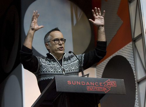 Kim Raff  |  The Salt Lake Tribune John Cooper, Director of the Sundance Film Festival, gives a speech during the Sundance Film Festival Awards Ceremony at Snyderville Basin Fieldhouse Recreation Center in Park City on January 26, 2013.