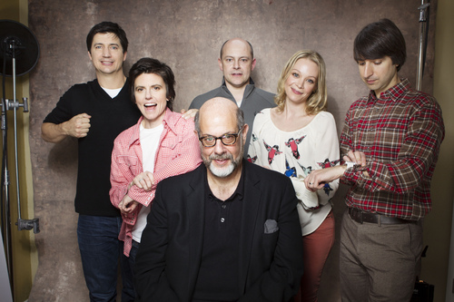 """Actors, from left, Ken Marino, Tig Notaro, Rob Corddry, Fred Melamed, Alexandra Holden and Demetri Martin from the film """"In A World"""" pose for a portrait during the 2013 Sundance Film Festival on Sunday, Jan. 20, 2013 in Park City, Utah. (Photo by Victoria Will/Invision/AP Images)"""