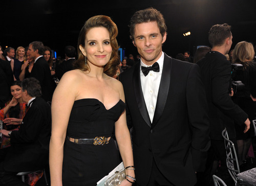 Tina Fey, left, and James Marsden pose in the audience at the 19th Annual Screen Actors Guild Awards at the Shrine Auditorium in Los Angeles on Sunday Jan. 27, 2013. (Photo by John Shearer/Invision/AP)