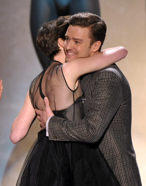 Justin Timberlake, right, congratulates Anne Hathaway on winning the award for outstanding female actor in a supporting role at the 19th Annual Screen Actors Guild Awards at the Shrine Auditorium in Los Angeles on Sunday, Jan. 27, 2013. (Photo by John Shearer/Invision/AP)