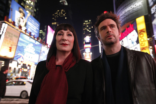 "Anjelica Huston as Eileen Rand, left, and Jack Davenport as Derek Wills in a scene from ""Smash."" Will Hart/NBC"