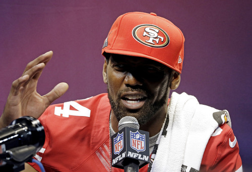 San Francisco 49ers wide receiver Randy Moss speaks during media day for the NFL Super Bowl XLVII football game Tuesday, Jan. 29, 2013, in New Orleans. (AP Photo/David J. Phillip)
