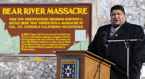 Jason Walker, chairman of the Northwestern Band of the Shoshone Nation, speaks during the 150th anniversary memorial ceremony of the Bear River Massacre, Tuesday, Jan. 29, 2013 near Preston, Idaho. (Eli Lucero/Herald Journal)