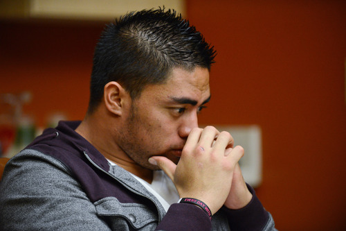 In a photo provided by ESPN, Notre Dame linebacker Manti Te'o pauses during an interview with ESPN on Friday, Jan. 18, 2013, in Bradenton, Fla.  (AP Photo/ESPN Images, Ryan Jones)