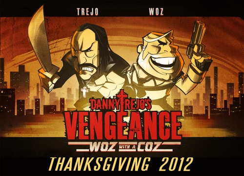 """A promotional screenshot from the app game """"Danny Trejo's Vengeance,"""" showing characters based on Danny Trejo and Apple co-founder Steve Wozniak. The game and a related film are the subject of a lawsuit filed in Utah's federal court. Courtesy   promotional image dannytrejo"""