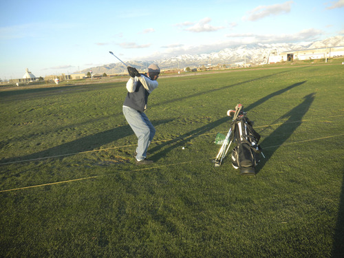 Tom Wharton     The Salt Lake Tribune Barry Crawford doesn't let 28-degree weather keep him from hitting a bucket of balls at Golf in the Round, where the driving range is open year-round.