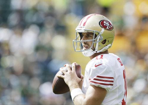 San Francisco 49ers' Alex Smith warms up before an NFL football game against the Green Bay Packers Sunday, Sept. 9, 2012, in Green Bay, Wis. (AP Photo/Jeffrey Phelps)