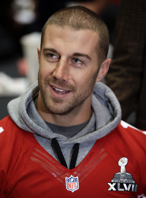 San Francisco 49ers quarterback Alex Smith talks with reporters during a news conference on Wednesday, Jan. 30, 2013, in New Orleans. The 49ers are scheduled to play the Baltimore Ravens in the NFL Super Bowl XLVII football game on Feb. 3. (AP Photo/Mark Humphrey)