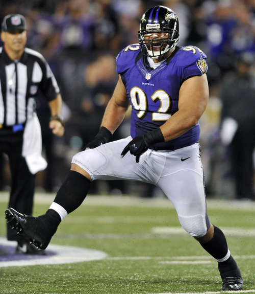 Baltimore Ravens defensive tackle Haloti Ngata reacts after sacking Cincinnati Bengals quarterback Andy Dalton in the second half of an NFL football game in Baltimore, Monday, Sept. 10, 2012. Baltimore won 44-13. (AP Photo/Gail Burton)