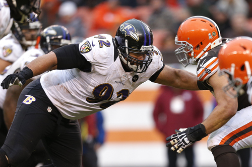 Baltimore Ravens defensive end Haloti Ngata (92) during an NFL football game against the Cleveland Browns in Cleveland, Sunday, Nov. 4, 2012. (AP Photo/Rick Osentoski)