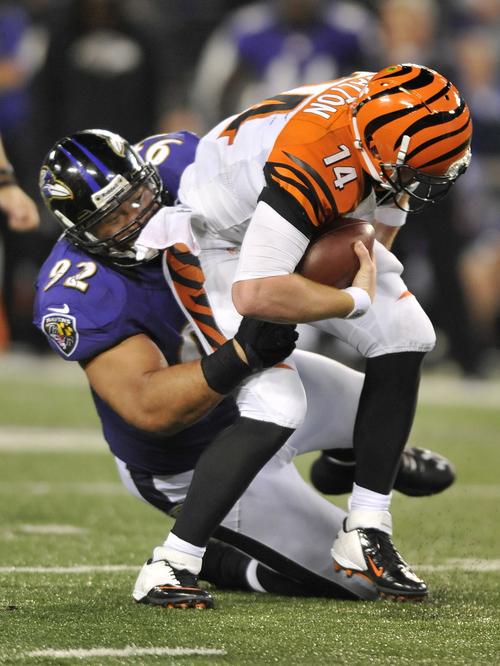 Baltimore Ravens defensive tackle Haloti Ngata (92) sacks Cincinnati Bengals quarterback Andy Dalton in the second half of an NFL football game in Baltimore, Monday, Sept. 10, 2012. (AP Photo/Gail Burton)