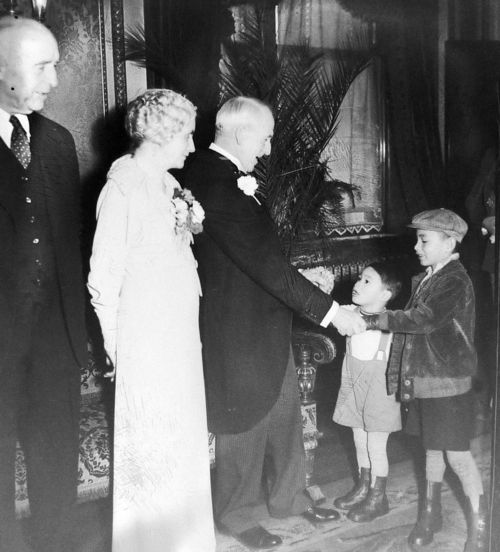 Courtesy photo Governor Henry Blood, center, and his wife greet Waldo Udarbe and his older brother Clarence at a New Year's Eve reception in the Gold Room at the capitol on Jan. 1, 1936.