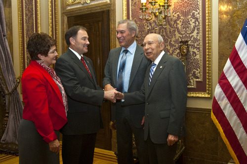 Chris Detrick  |  The Salt Lake Tribune Utah Gov. Gary Herbert and First Lady Jeanette Herbert meet with Waldo Udarbe , left, and Clarence Udarbe before his State of the State address at the Utah State Capitol Wednesday January 30, 2013.