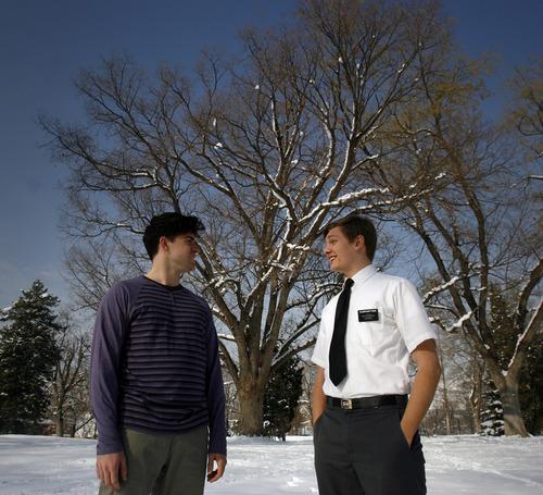 "Rick Egan    The Salt Lake Tribune    Logan Tarantino (left)  plays Steve, and  Topher Rasmussen (right) plays Adam, in the Plan-B Theatre production of ""Adam & Steve and the Empty Sea."""