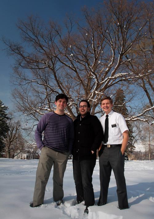 "Rick Egan    The Salt Lake Tribune    Logan Tarantino (left) plays Steve, playwright Matthew Greene (center) and  Topher Rasmussen (right) plays Adam, in Plan-B Theatre's production of ""Adam & Steve and the Empty Sea."""