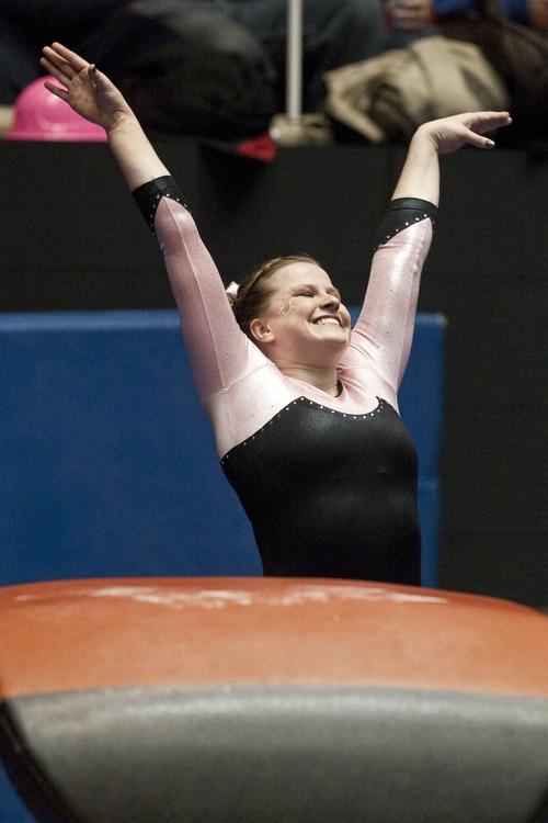 Chris Detrick  |  The Salt Lake Tribune Utah's Tory Wilson competes on the vault during the gymnastics meet against Oregon State at the Huntsman Center on March 2, 2012. Utah won 196.575 to 195.600.